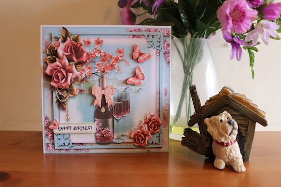 Handmade Birthday Card, 3D decoupage flowers and butterflies, wine bottle and glasses