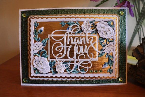 """Handmade Thank You Card, White Roses on a Gold & Green Background, 3D Decoupage, 7"""" x 5"""", Unique, Personalised"""