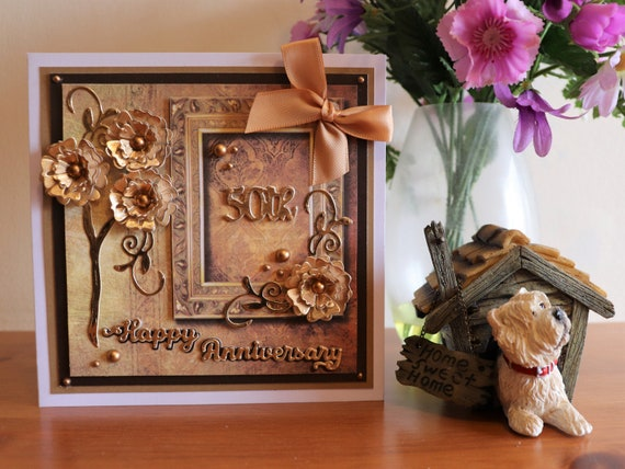 Handmade Golden Wedding 50th Anniversary Card, 3D Gold flowers and bow
