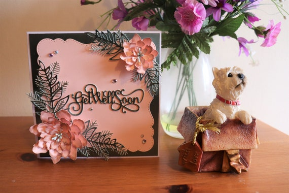 Handmade Get Well Soon Floral Greeting Card in peach and mint green with 3 dimensional flowers