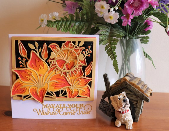 Unique Handmade Birthday Card, 3D, multi-layered, floral, orange and black, personalise