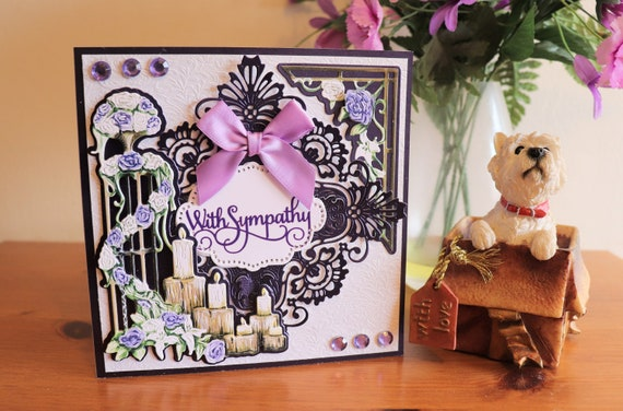 Handmade Sympathy Card, Decoupage Candles and purple flowers, die cut background with faux gem and bow embellishments,
