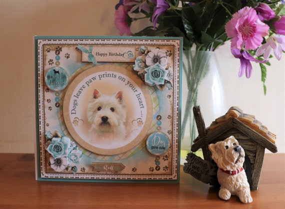 Handmade Birthday Card, Westie, West Highland White Terrier, Dog, 3D Decoupage flowers with matching gift card