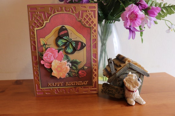 Handmade 3D Birthday Card, Decoupage Butterfly and Flowers, Unique, Personalise