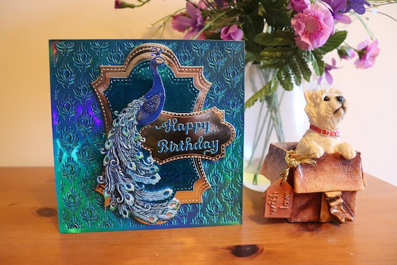 Gorgeous Handmade Peacock Birthday Card with 3D Decoupage, embossed peacock feather background