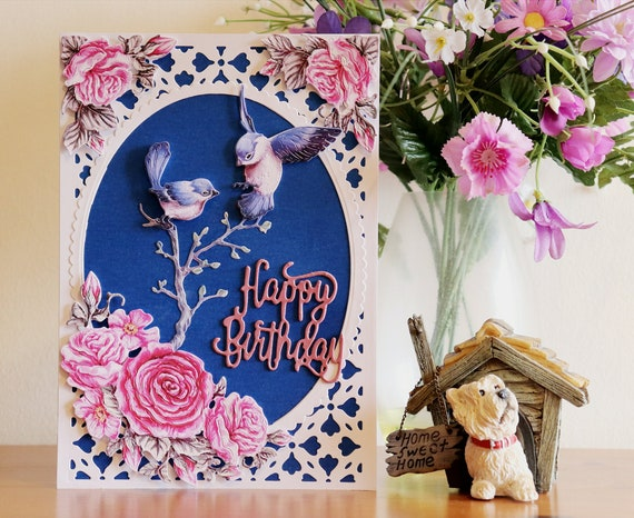 Large A5 size Unique Handmade Birthday Card, Large A5 Size, Flowers & Birds, Die Cut, 3D Decoupage, Personalise