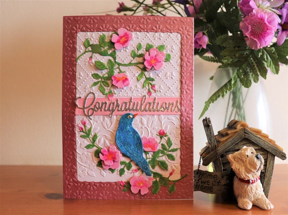 Handmade Decoupage Congratulations Card, Wild Roses and Bluebird on an embossed background