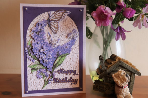 Handmade Decoupage 3D Birthday Card with Lilac Flowers and Butterflies