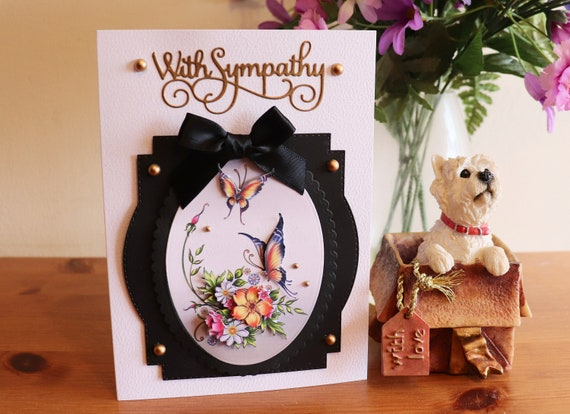 Handmade Sympathy Card, Decoupage Flowers and Butterflies in a black frame with fancy gold sentiment, gold beads and bow embellishments