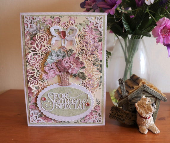 Handmade Greetings Card for a Special Friend, Someone Special. Birthday, Thinking of You, Any Occasion, Basket of Flowers, Gift,