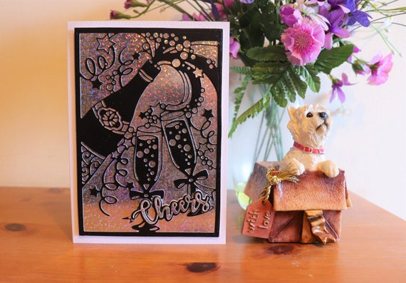 Handmade Greeting Card, Champagne Glasses and Cheers on a holographic background