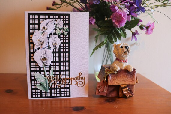 Handmade Sympathy Card with 3D Decoupage White Orchid on a black Trellis and gold sentiment