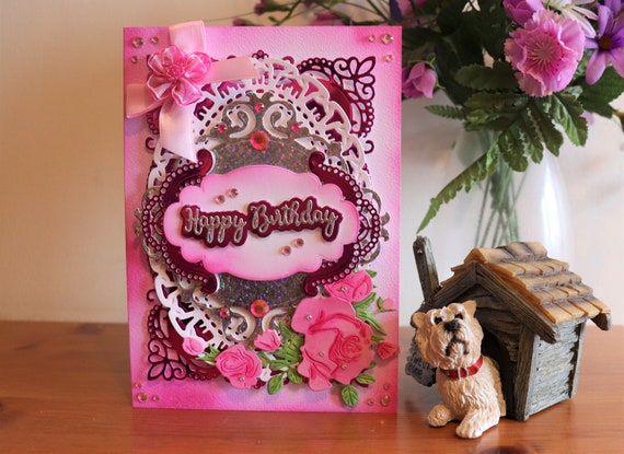 Handmade Birthday Card, Outrageously Glitzy and Ridiculously Pink