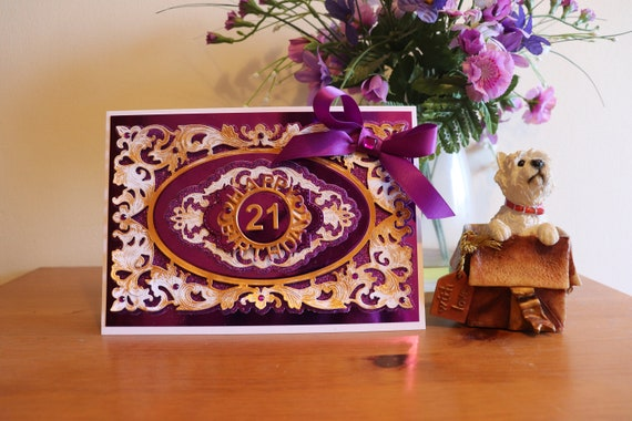 Large A5 Handmade 21st Birthday Card with fancy gold and purple die cut frame and sentiment