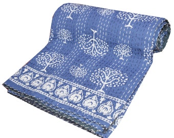 Indian Beautiful Kantha Quilt Traditional Vintage Kantha Throw Blanket Bedspread Boho Twin/Queen Size Cotton Floral Print Blue Palm Tree