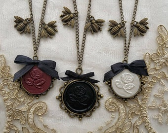 Bronze - Rose Wax Seal Necklace