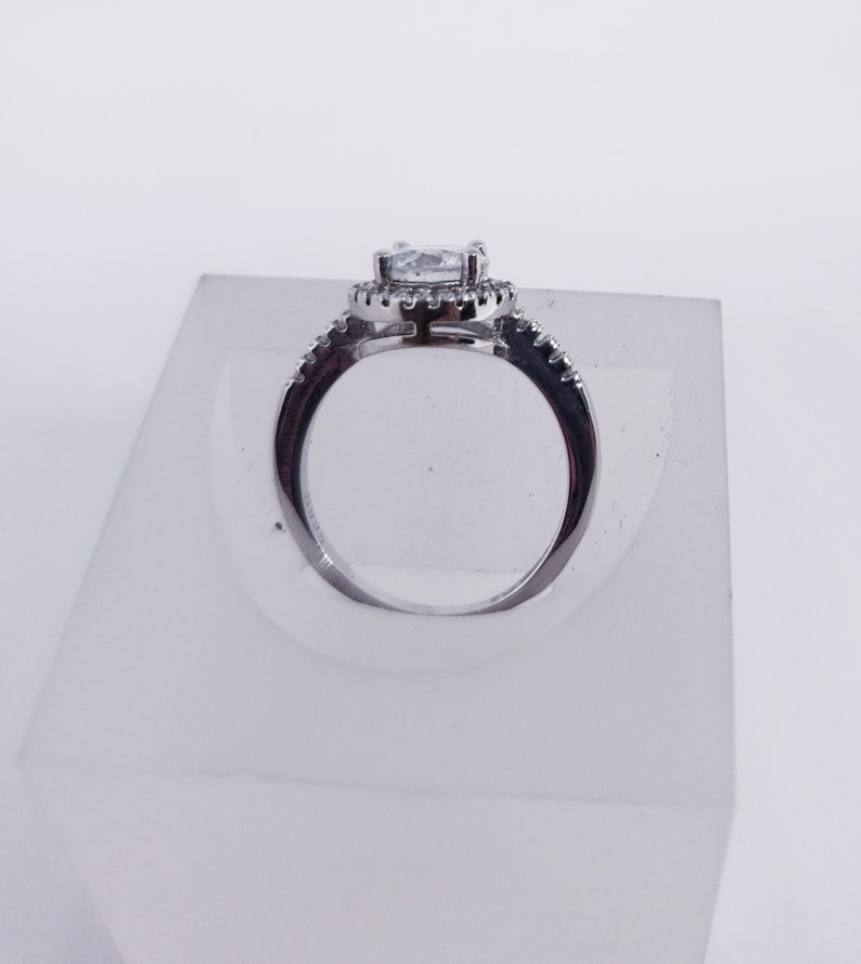 Sterling Silver Halo Engagement Ring