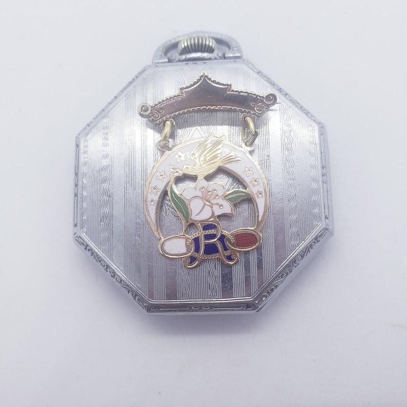 Enamel Sterling Silver ODD FELLOWS Dangle Pin Floral