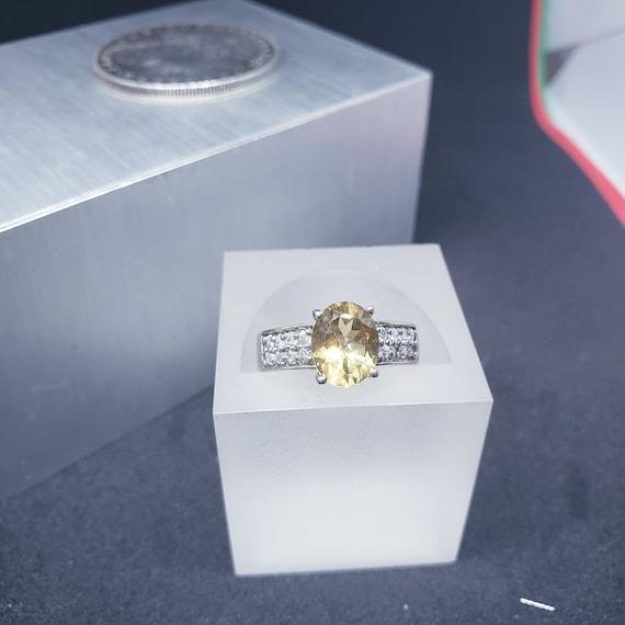 Sterling Silver Citrine and CZ Fashion Ring, Novem