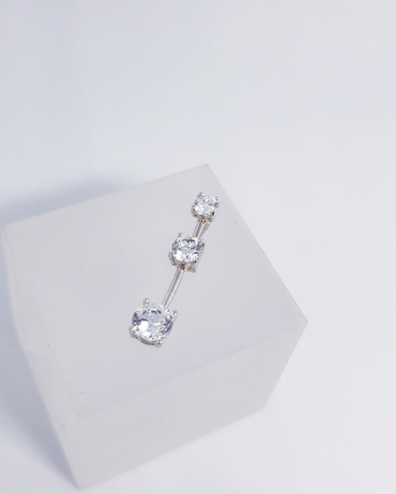 Sterling Silver 3 Stone Tapered Dangle CZ Pendant