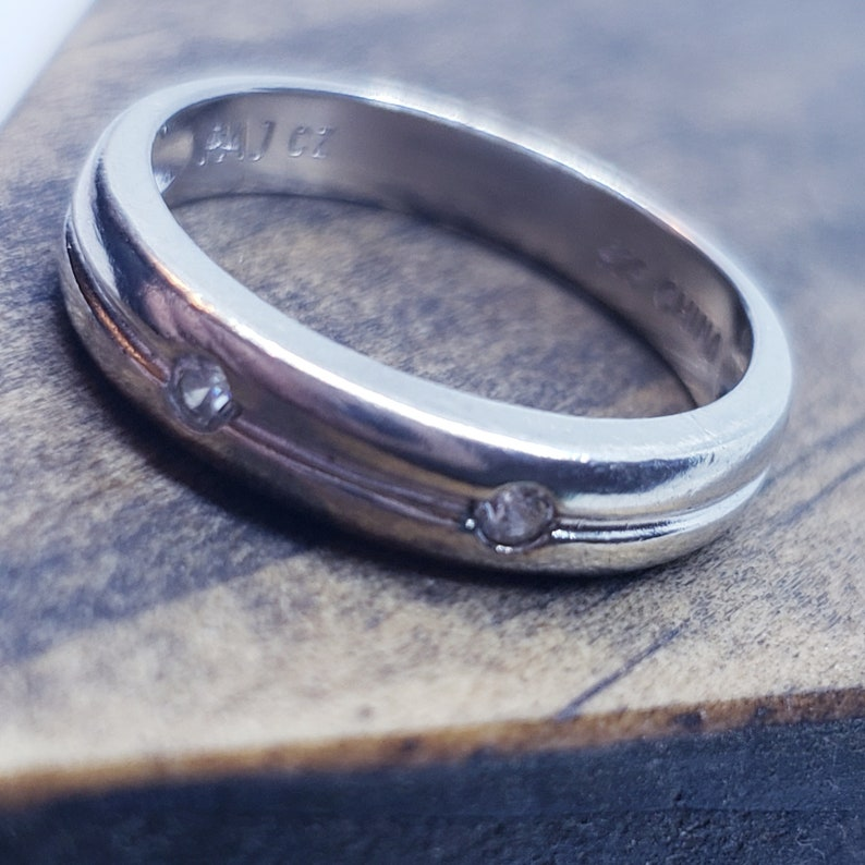 Lined 2 Round Accents Sterling Silver CZ Band