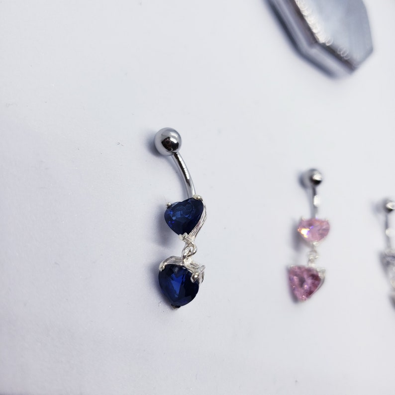 Sterling Silver Double Heart Dangle Gemstone Belly Button Ring