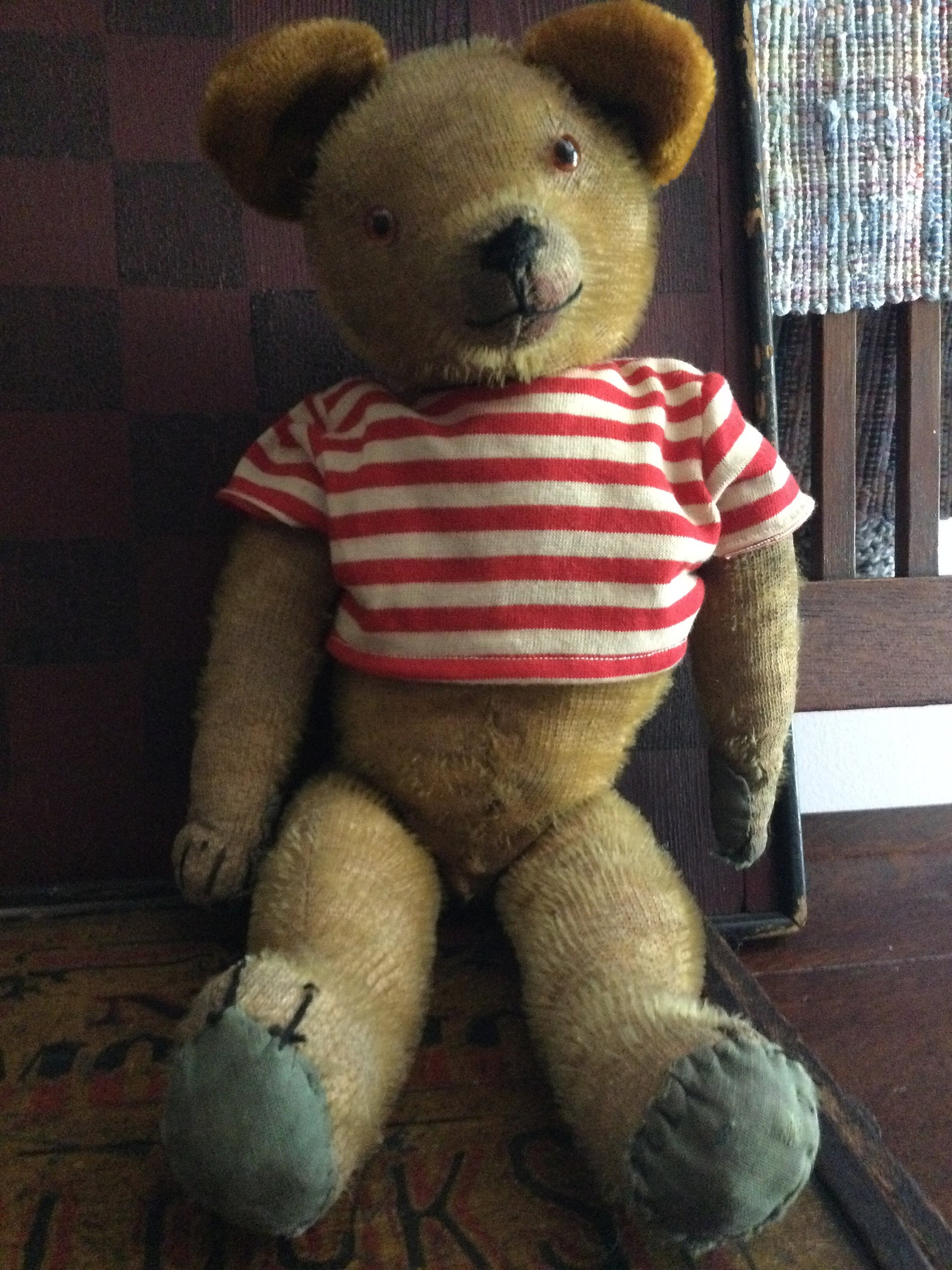 """Antique Vintage 1920's Gold Mohair Teddy Bear 15 1/2"""" WELL LOVED & Sweet Face"""