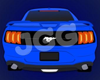 Custom Car Cartoon - Hand-drawn Digital Download | Muscle, Mustang, Sport, Car, Personalized, Art
