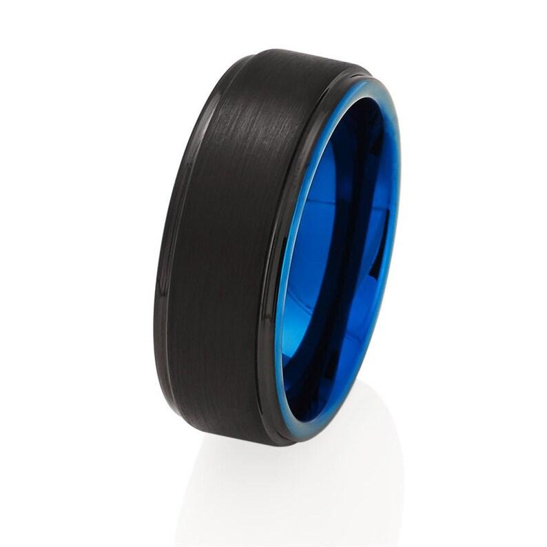 Blue Tungsten Wedding Ring,Black Tungsten Wedding Band,Anniversary Ring,Engagement Ring,Tungsten Carbide Ring,Men /& Women,Comfort Fit