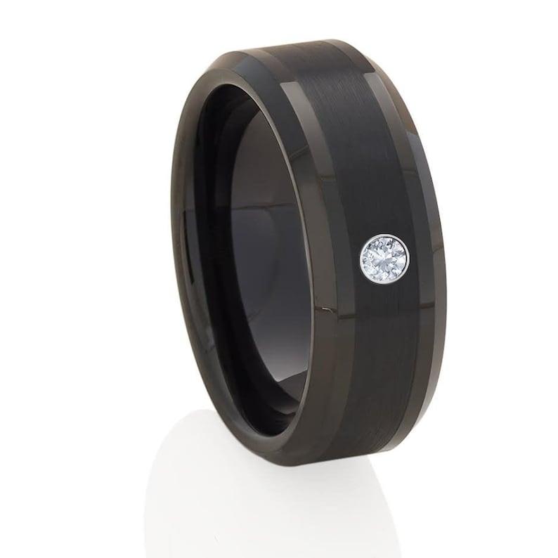 Black Tungsten Wedding Ring,White Diamond Wedding Ring,Men/&Women,Tungsten Carbide Ring,Anniversary and Engagement Ring,Tungsten Carbide
