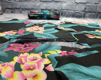 Vintage Tropical Floral Fabric Squares, Rayon, Quilting