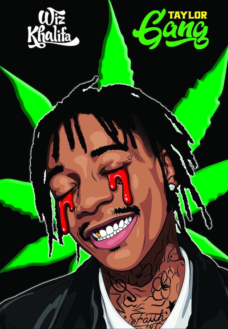 Wiz Khalifa Poster Wake N Bake CAKE UP Taylor Gang TGOD Bud Pot Leaf Hq Unframed Art Holidaze Holy Blaze Fire Ripped Up Tore Up Hot Big 420