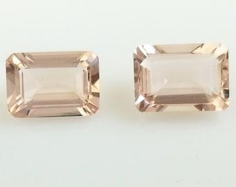 Morganite Beryl Natural Loose Gemstone Faceted 3.41 ct from Nigeria Pink Peach Square Octagon