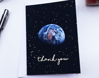 Thank you card with Apollo 10 photo and gold foil - A6