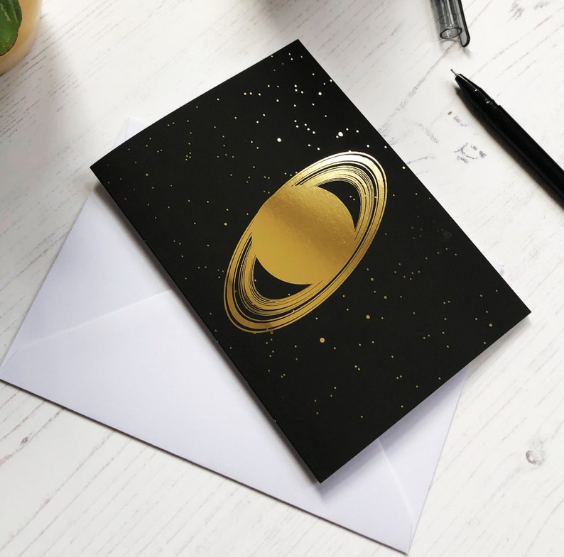 Gold foil Saturn greeting card image 0