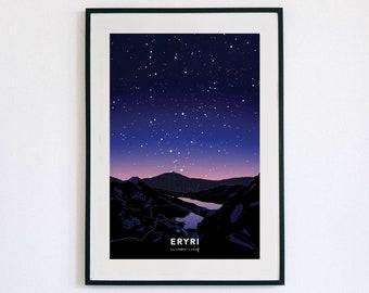 Eryri ar noson o aeaf poster - di ffram