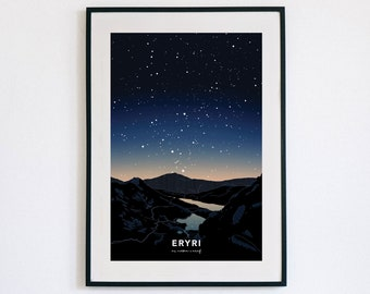 Poster Eryri ar noson o aeaf - di ffram