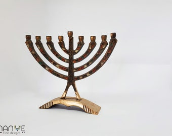 Oro Gerusalemme Portacandela Decorativo Judaica 7 Ramo Menorah Hanukkah Regalo