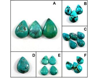 AAA+ Natural Turquoise Gemstone Cabochon | Pear Shape Turquoise Loose Cabochon | Handmade Flat Back Polished Cabochon