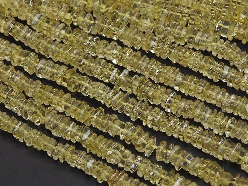 5 mm Semi Precious 16 Inches Beads Strand Wholesale Price Exclusive Lemon Quartz Heishi Shape Beads Strand