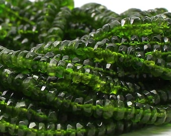 AAA Natural Chrome Diopside Faceted Beads Strand | 3.5 to 5 mm Handmade Polished Beads | 13 Inches Loose Beads Strand | On Sale