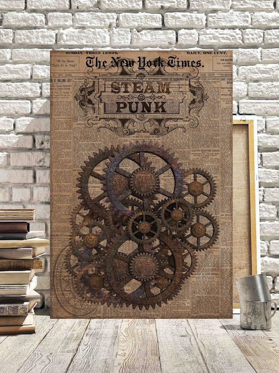 Steampunk Canvas Pictures Vintage Grunge Mechanical Cogs Gears Etsy