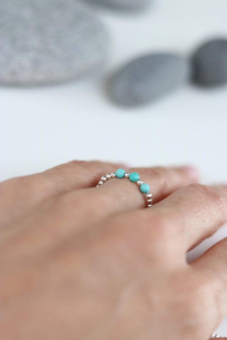 Elastic Custom December birthstone ring Turquoise and sterling silver stretch ring Gift for teenager Silver bead ring Tiny bead ring