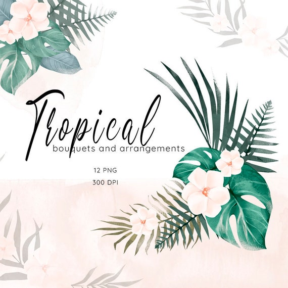 Tropical Leaves Clipart Watercolor Monstera Palm Leaf Etsy All of these leaf overlay background download these leaf overlay background or photos and you can use them for many purposes, such as banner, wallpaper, poster background as well as. etsy