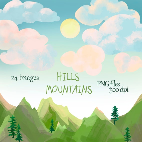 Green Hills Mountain Download Borders Cloudy Pine Trees Watercolor Mountains Clipart Corners Instant Download