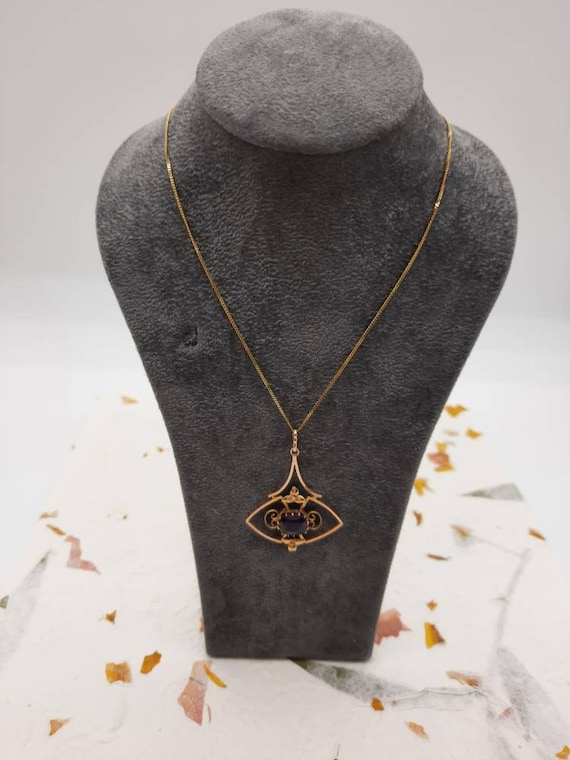 Edwardian 9ct Gold Amethyst Pendant - image 2