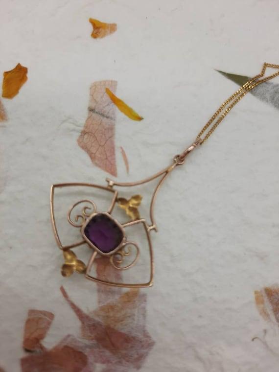 Edwardian 9ct Gold Amethyst Pendant - image 5