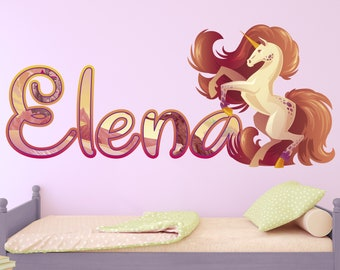 J303 Magical Unicorn Colours Girls Smashed Wall Decal 3D Art Stickers Vinyl Room Large 92x52