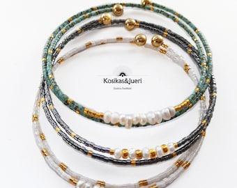 Hand beaded Magnetic hematite solar quartz Memory wire choker necklace