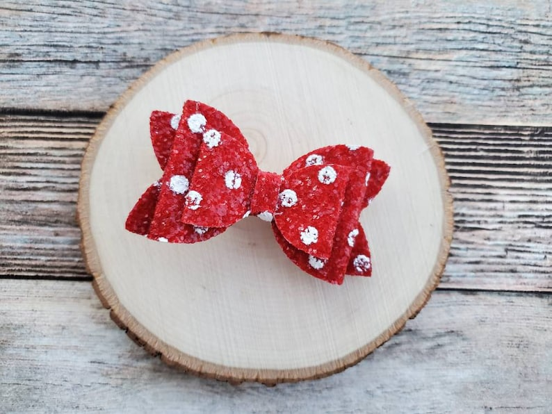 Red and white chunky glitter bow